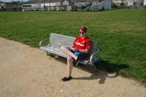 Tash Smith relaxes in between filming interviews. Surely it was never this sunny during any actual Vetch game?