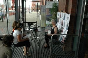 Young volunteers film Vetch Poet Laureate Berni Rowden