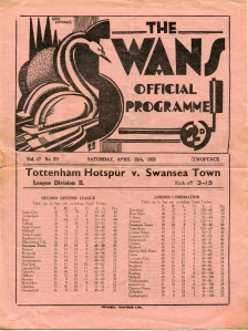 Programme from 1993 match with Spurs, brought in by Alun Griffiths