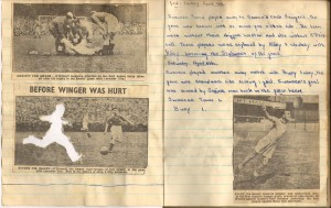 Page from Shirley James' teenage Swans scrapbook. The cut-out player was made into a badge.
